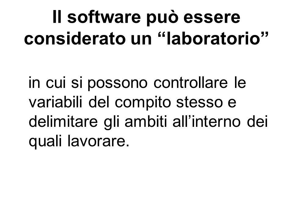 Il software può essere considerato un laboratorio in cui si possono controllare le variabili del compito stesso e delimitare gli ambiti allinterno dei
