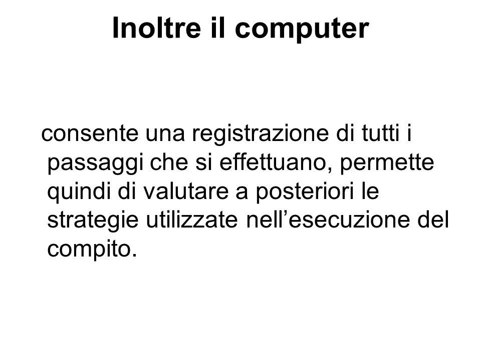 Inoltre il computer consente una registrazione di tutti i passaggi che si effettuano, permette quindi di valutare a posteriori le strategie utilizzate