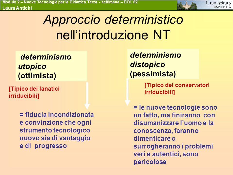 Modulo 2 – Nuove Tecnologie per la Didattica Terza - settimana – DOL 82 Laura Antichi Approccio deterministico nellintroduzione NT determinismo utopic