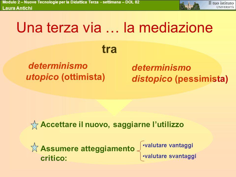 Modulo 2 – Nuove Tecnologie per la Didattica Terza - settimana – DOL 82 Laura Antichi Una terza via … la mediazione tra determinismo utopico (ottimist