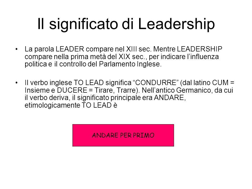 Il significato di Leadership La parola LEADER compare nel XIII sec.