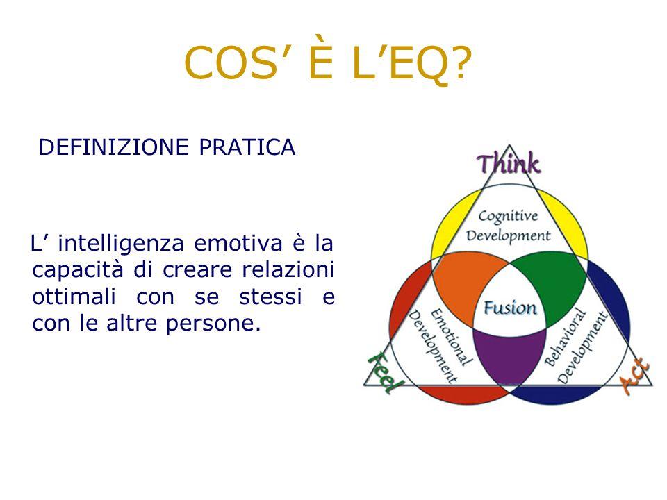 L intelligenza emotiva è l abilità di identificare le emozioni; di accedere e utilizzare emozioni in modo da aiutare il pensiero; di comprendere le em