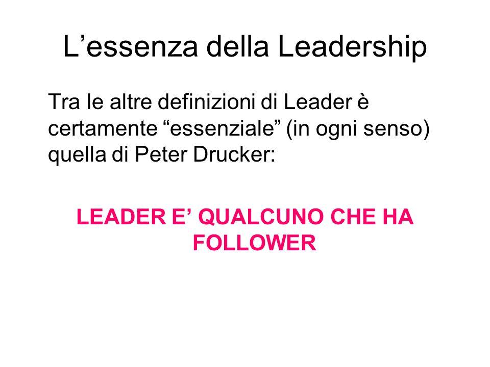 Lessenza della Leadership Tra le altre definizioni di Leader è certamente essenziale (in ogni senso) quella di Peter Drucker: LEADER E QUALCUNO CHE HA FOLLOWER