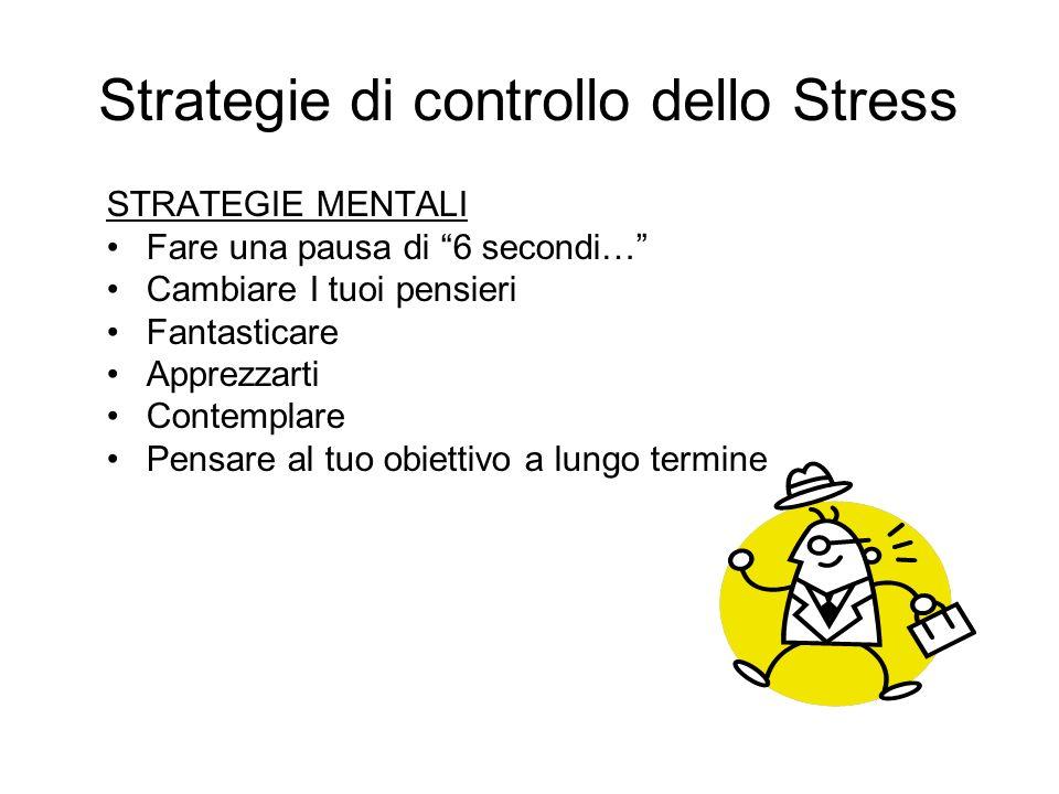 Strategie di controllo dello Stress Stare bene con se stessi è una buona base di partenza contro lo stress. Eliminare le preoccupazioni non necessarie