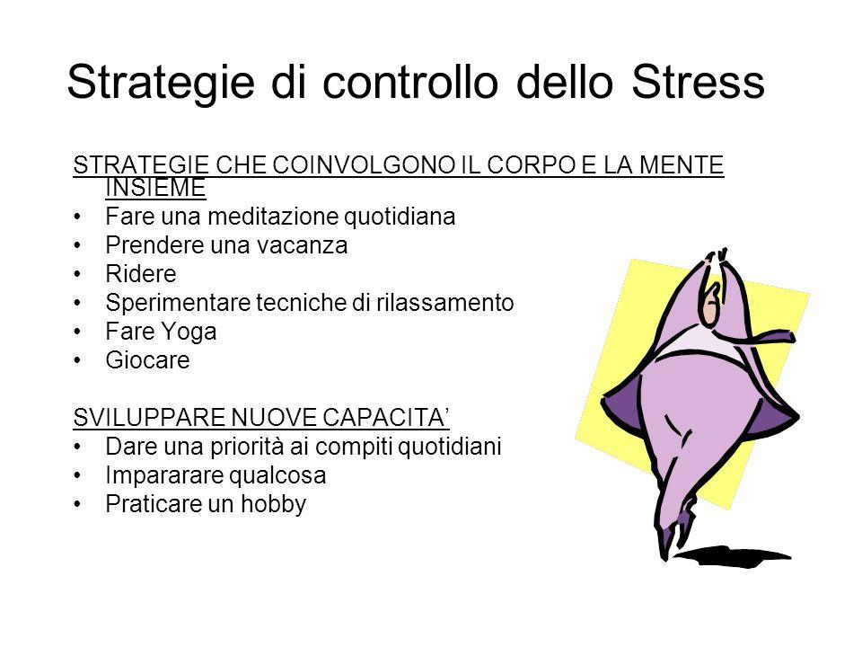 Strategie di controllo dello Stress STRATEGIE MENTALI Fare una pausa di 6 secondi… Cambiare I tuoi pensieri Fantasticare Apprezzarti Contemplare Pensa
