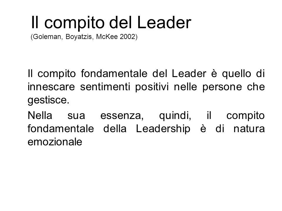 Il compito del Leader (Goleman, Boyatzis, McKee 2002) Il compito fondamentale del Leader è quello di innescare sentimenti positivi nelle persone che gestisce.