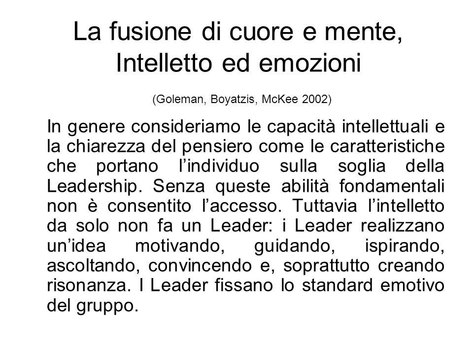 La fusione di cuore e mente, Intelletto ed emozioni (Goleman, Boyatzis, McKee 2002) In genere consideriamo le capacità intellettuali e la chiarezza del pensiero come le caratteristiche che portano lindividuo sulla soglia della Leadership.