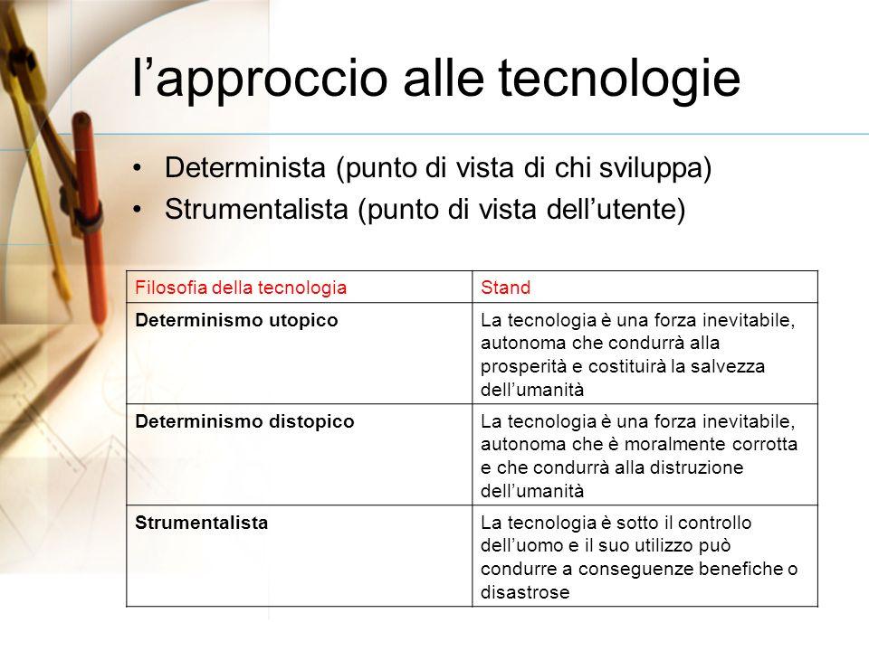 lapproccio alle tecnologie Determinista (punto di vista di chi sviluppa) Strumentalista (punto di vista dellutente) Filosofia della tecnologiaStand Determinismo utopicoLa tecnologia è una forza inevitabile, autonoma che condurrà alla prosperità e costituirà la salvezza dellumanità Determinismo distopicoLa tecnologia è una forza inevitabile, autonoma che è moralmente corrotta e che condurrà alla distruzione dellumanità StrumentalistaLa tecnologia è sotto il controllo delluomo e il suo utilizzo può condurre a conseguenze benefiche o disastrose