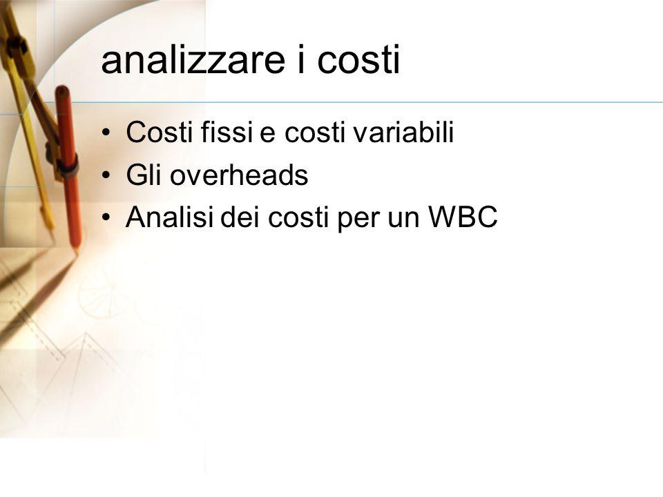 analizzare i costi Costi fissi e costi variabili Gli overheads Analisi dei costi per un WBC