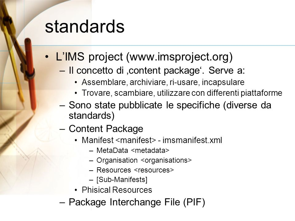 standards LIMS project (  –Il concetto di content package.