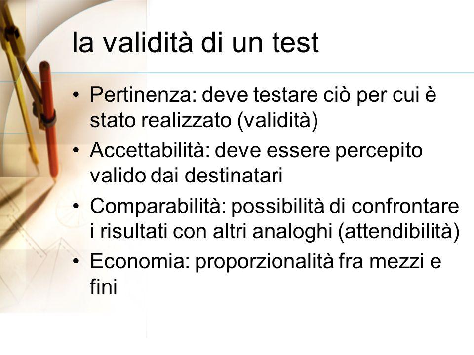 la validità di un test Pertinenza: deve testare ciò per cui è stato realizzato (validità) Accettabilità: deve essere percepito valido dai destinatari Comparabilità: possibilità di confrontare i risultati con altri analoghi (attendibilità) Economia: proporzionalità fra mezzi e fini