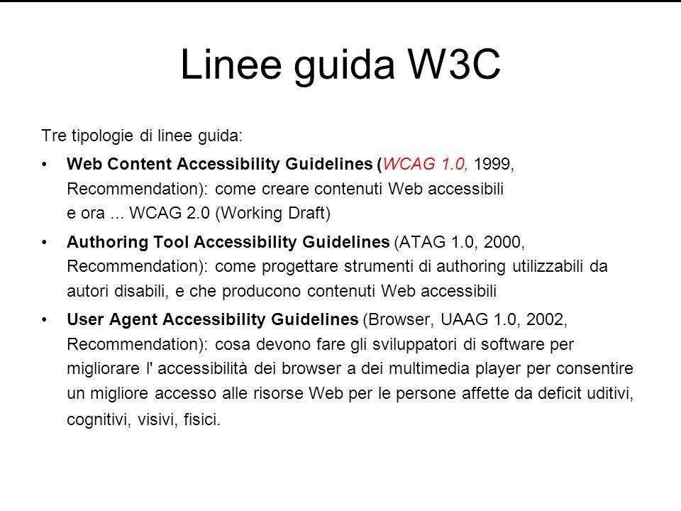 Linee guida W3C Tre tipologie di linee guida: Web Content Accessibility Guidelines (WCAG 1.0, 1999, Recommendation): come creare contenuti Web accessi