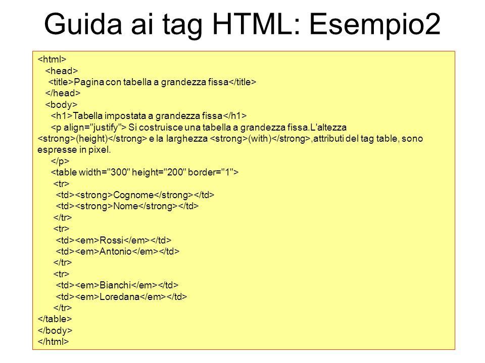 Guida ai tag HTML: Esempio2 Pagina con tabella a grandezza fissa Tabella impostata a grandezza fissa Si costruisce una tabella a grandezza fissa.L'alt
