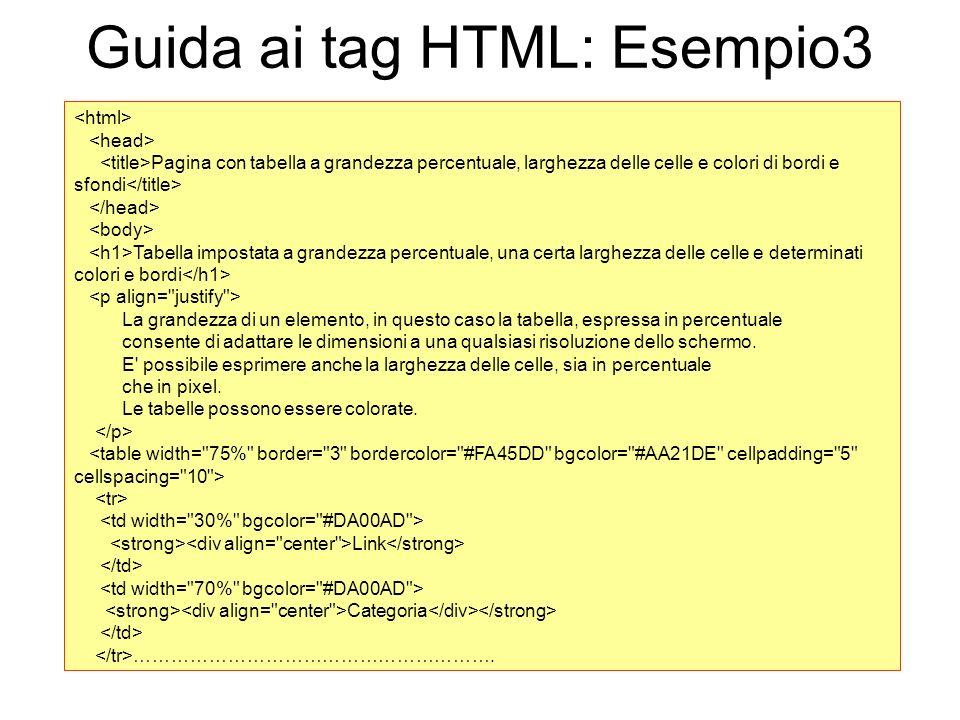Guida ai tag HTML: Esempio3 Pagina con tabella a grandezza percentuale, larghezza delle celle e colori di bordi e sfondi Tabella impostata a grandezza