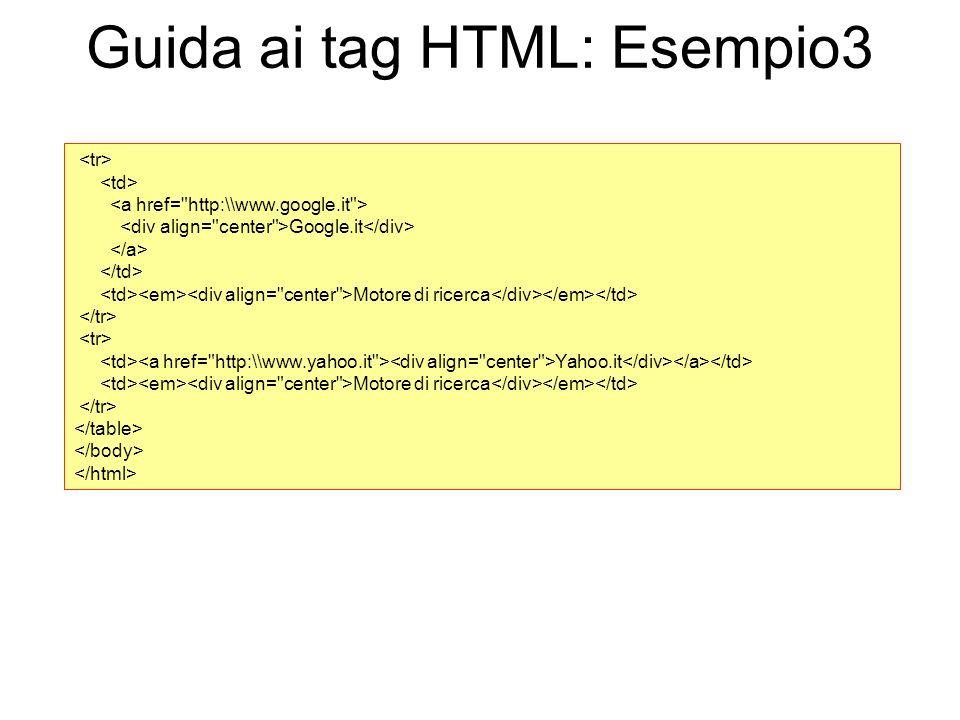 Guida ai tag HTML: Esempio3 Google.it Motore di ricerca Yahoo.it Motore di ricerca