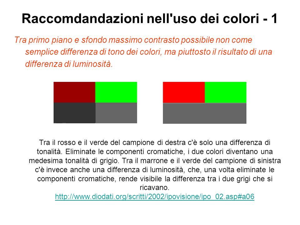 Raccomdandazioni nell'uso dei colori - 1 Tra primo piano e sfondo massimo contrasto possibile non come semplice differenza di tono dei colori, ma piut