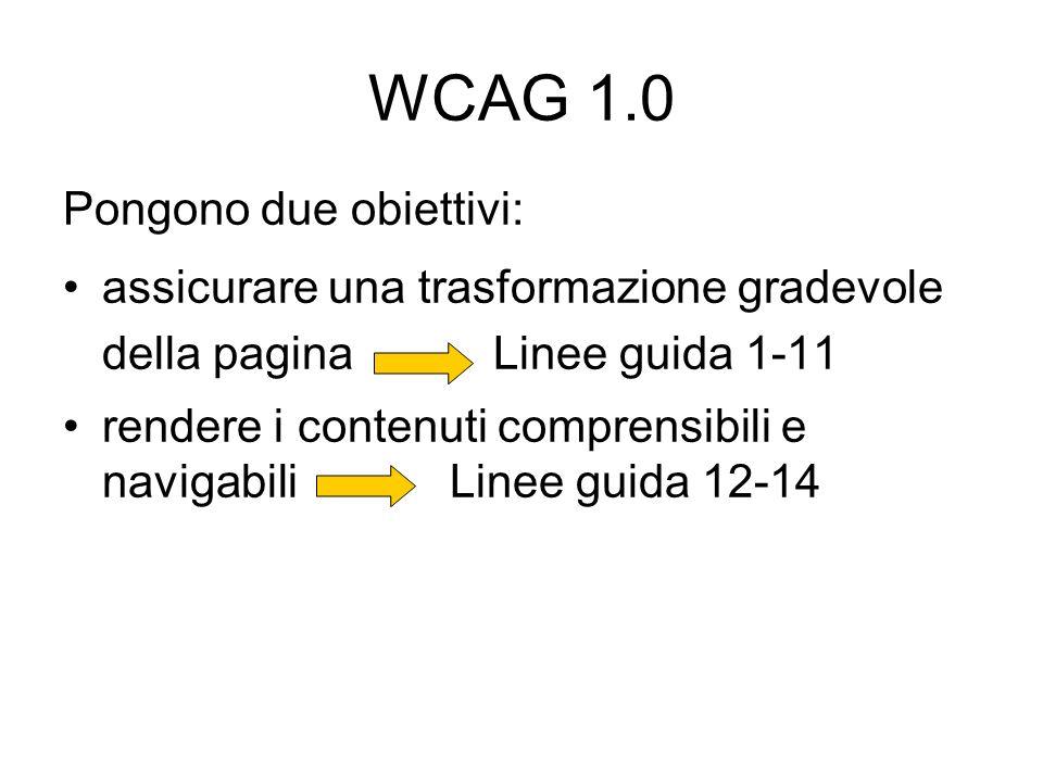 WCAG 1.0 Pongono due obiettivi: assicurare una trasformazione gradevole della pagina Linee guida 1-11 rendere i contenuti comprensibili e navigabili L