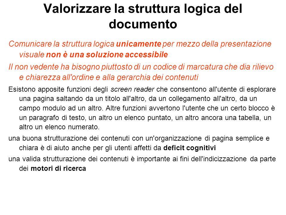 Valorizzare la struttura logica del documento Comunicare la struttura logica unicamente per mezzo della presentazione visuale non è una soluzione acce
