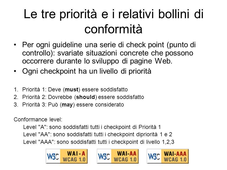 Le tre priorità e i relativi bollini di conformità Per ogni guideline una serie di check point (punto di controllo): svariate situazioni concrete che