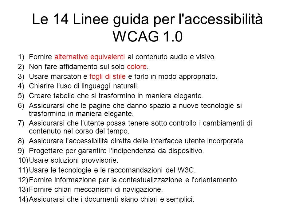 Le 14 Linee guida per l'accessibilità WCAG 1.0 1)Fornire alternative equivalenti al contenuto audio e visivo. 2)Non fare affidamento sul solo colore.