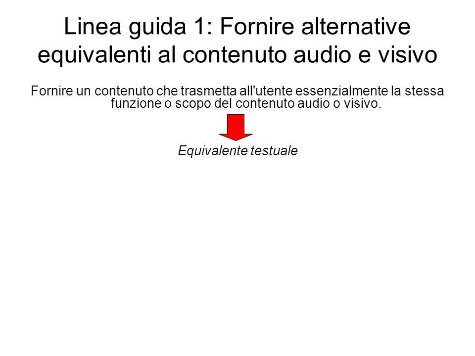 Linea guida 1: Fornire alternative equivalenti al contenuto audio e visivo Fornire un contenuto che trasmetta all'utente essenzialmente la stessa funz
