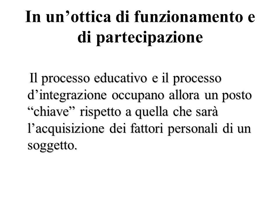 In unottica di funzionamento e di partecipazione Il processo educativo e il processo dintegrazione occupano allora un posto chiave rispetto a quella c