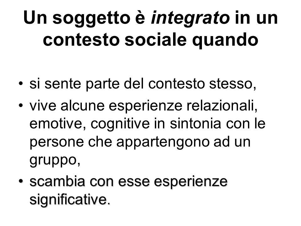 Un soggetto è integrato in un contesto sociale quando si sente parte del contesto stesso, vive alcune esperienze relazionali, emotive, cognitive in si