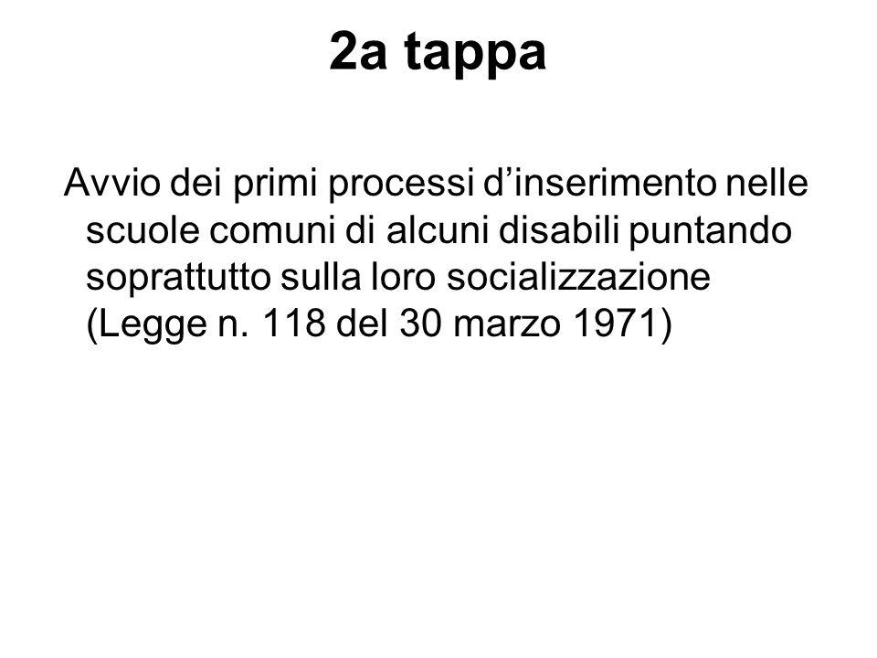 2a tappa Avvio dei primi processi dinserimento nelle scuole comuni di alcuni disabili puntando soprattutto sulla loro socializzazione (Legge n. 118 de