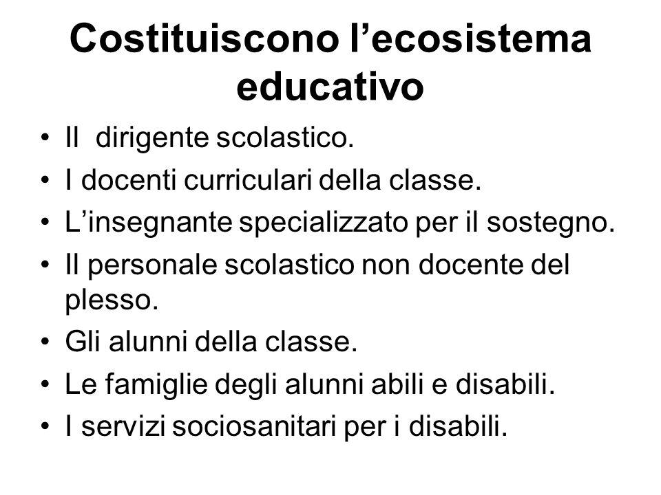 Costituiscono lecosistema educativo Il dirigente scolastico. I docenti curriculari della classe. Linsegnante specializzato per il sostegno. Il persona