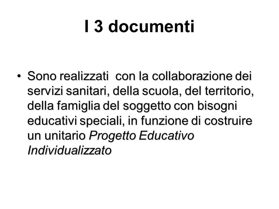 I 3 documenti Sono realizzati con la collaborazione dei servizi sanitari, della scuola, del territorio, della famiglia del soggetto con bisogni educat