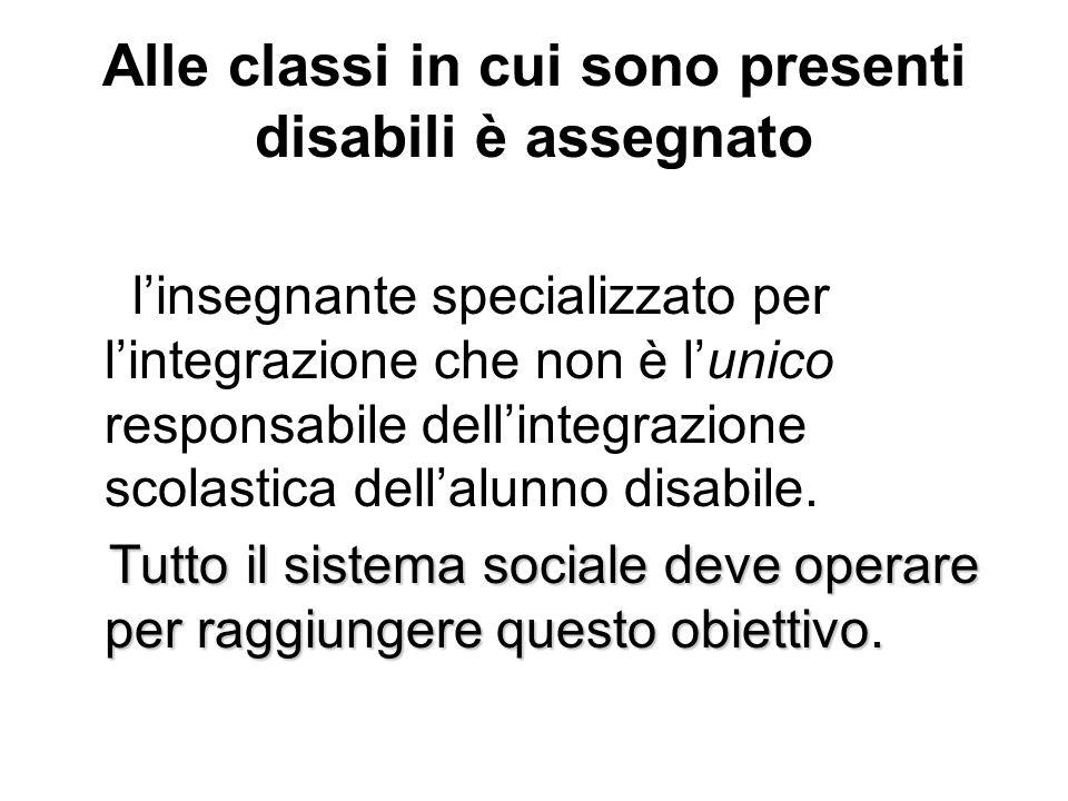 Alle classi in cui sono presenti disabili è assegnato linsegnante specializzato per lintegrazione che non è lunico responsabile dellintegrazione scola