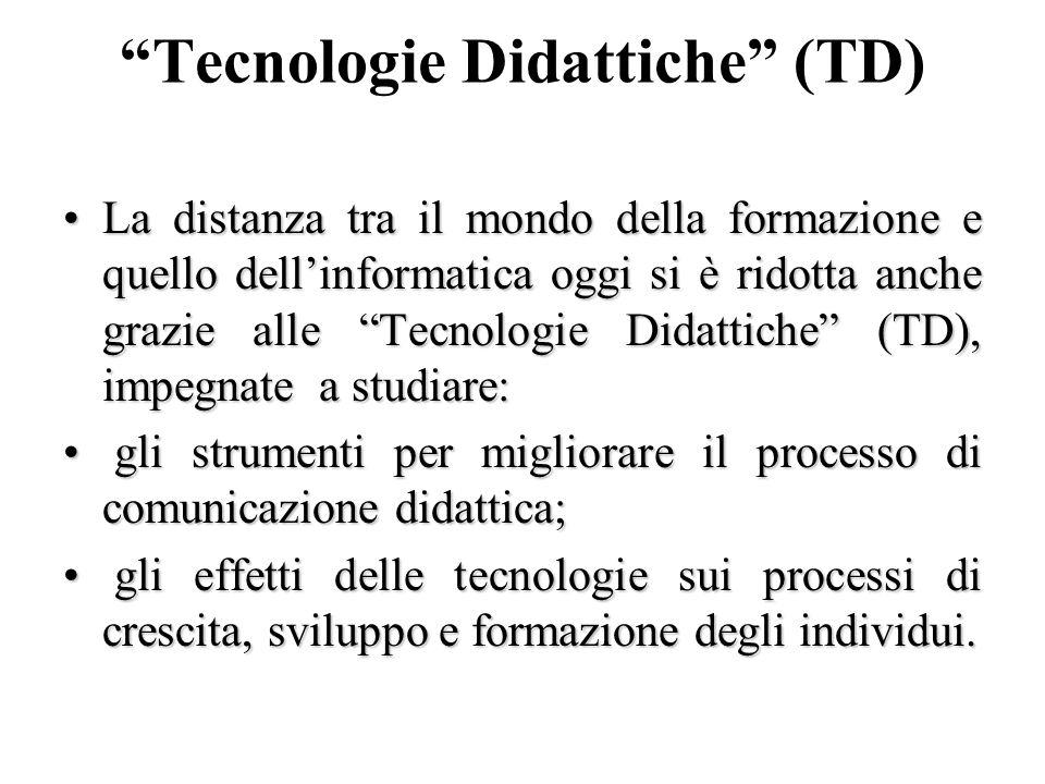 Tecnologie Didattiche (TD) La distanza tra il mondo della formazione e quello dellinformatica oggi si è ridotta anche grazie alle Tecnologie Didattich