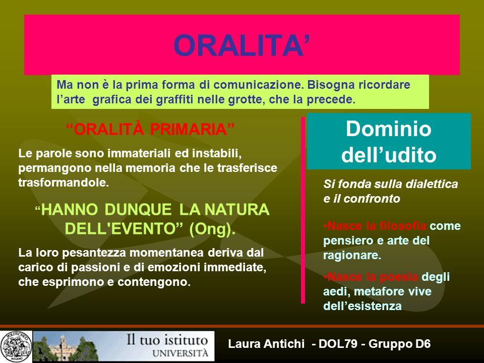 Laura Antichi - DOL79 - Gruppo D6 ORALITA Ma non è la prima forma di comunicazione. Bisogna ricordare larte grafica dei graffiti nelle grotte, che la
