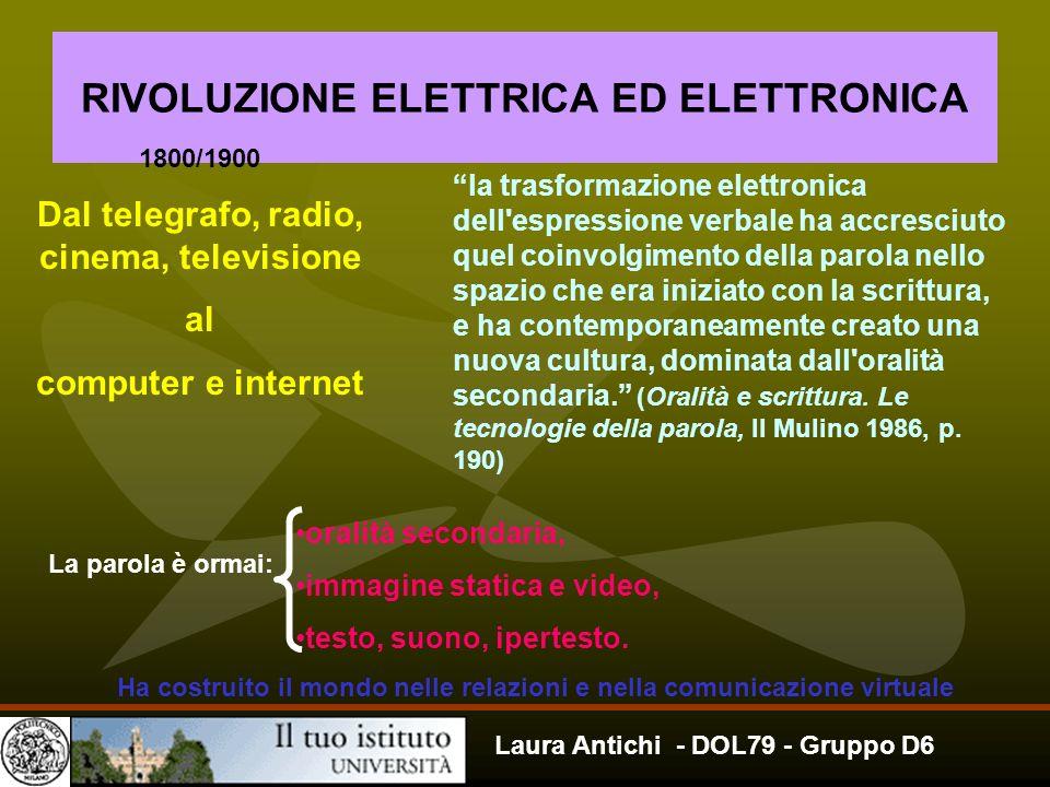 Laura Antichi - DOL79 - Gruppo D6 RIVOLUZIONE ELETTRICA ED ELETTRONICA Dal telegrafo, radio, cinema, televisione al computer e internet 1800/1900 la t