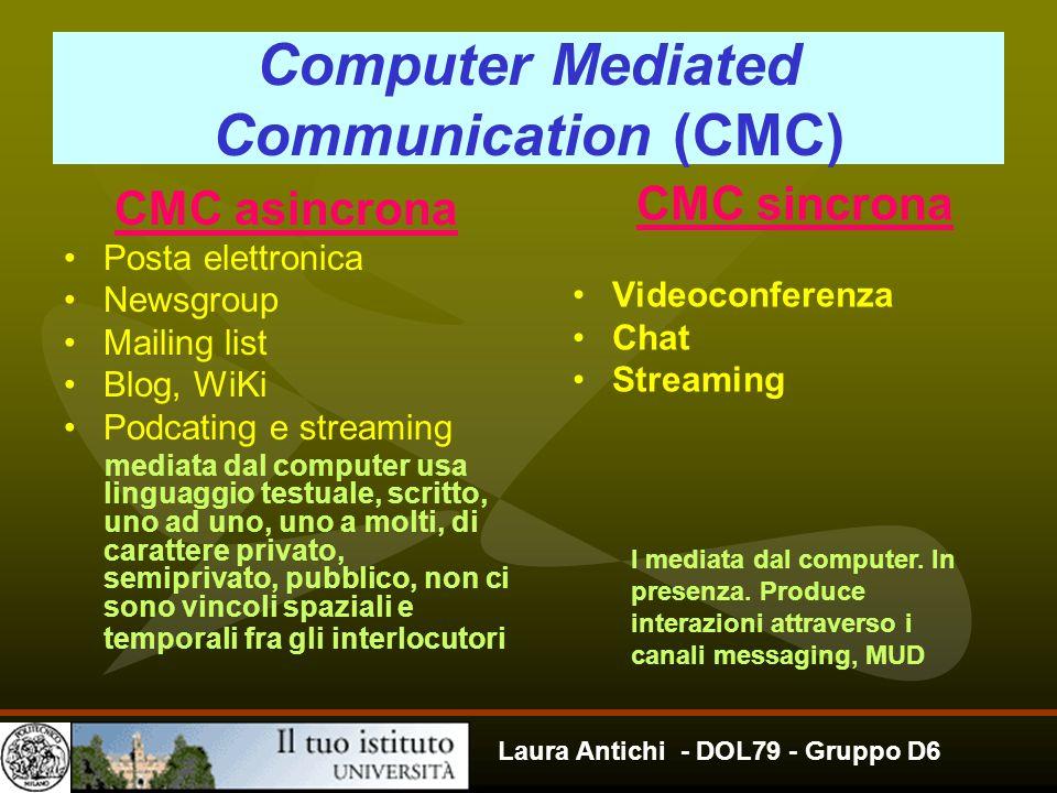 Laura Antichi - DOL79 - Gruppo D6 Computer Mediated Communication (CMC) CMC asincrona Posta elettronica Newsgroup Mailing list Blog, WiKi Podcating e