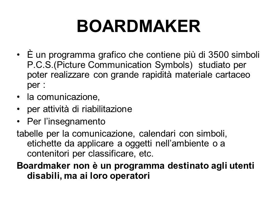 BOARDMAKER È un programma grafico che contiene più di 3500 simboli P.C.S.(Picture Communication Symbols) studiato per poter realizzare con grande rapi