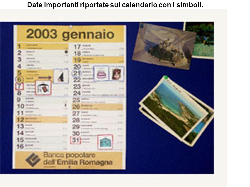 Date importanti riportate sul calendario con i simboli.