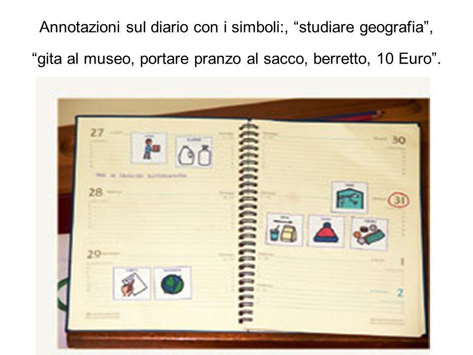 Annotazioni sul diario con i simboli:, studiare geografia, gita al museo, portare pranzo al sacco, berretto, 10 Euro.
