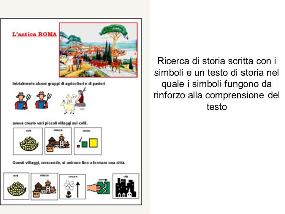Ricerca di storia scritta con i simboli e un testo di storia nel quale i simboli fungono da rinforzo alla comprensione del testo