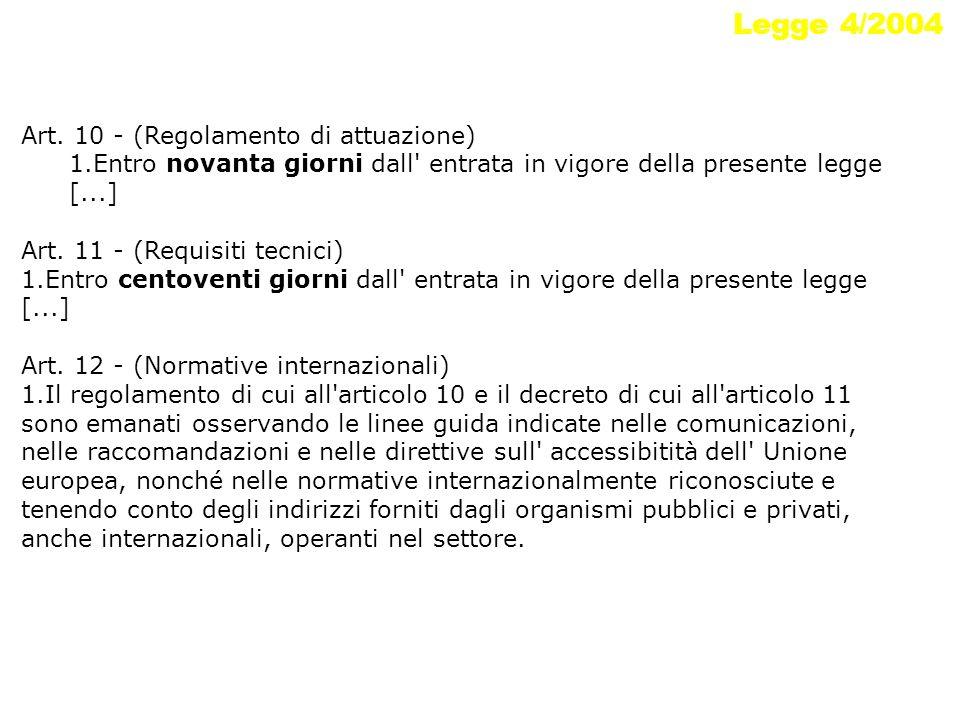 Legge 4/2004 Art. 10 - (Regolamento di attuazione) 1.Entro novanta giorni dall' entrata in vigore della presente legge [...] Art. 11 - (Requisiti tecn