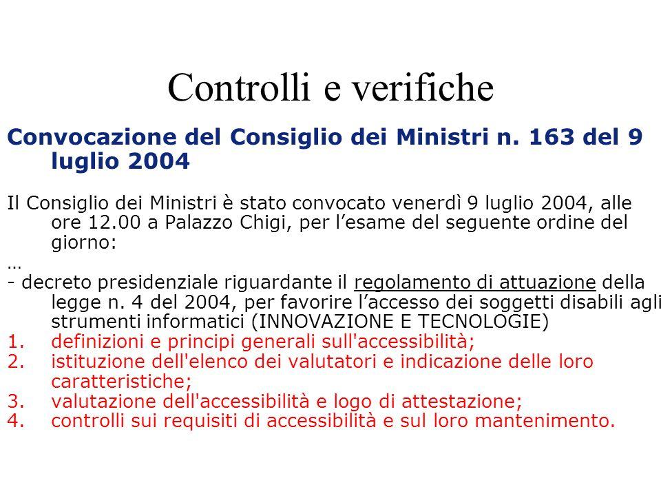 Controlli e verifiche Convocazione del Consiglio dei Ministri n.
