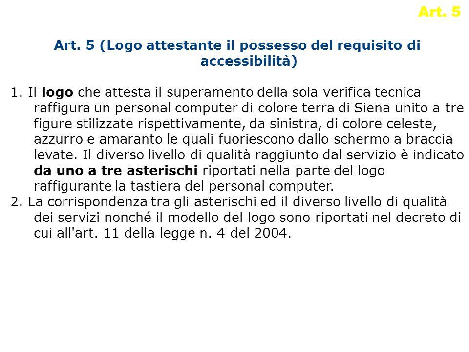 Art. 5 Art. 5 (Logo attestante il possesso del requisito di accessibilità) 1. Il logo che attesta il superamento della sola verifica tecnica raffigura