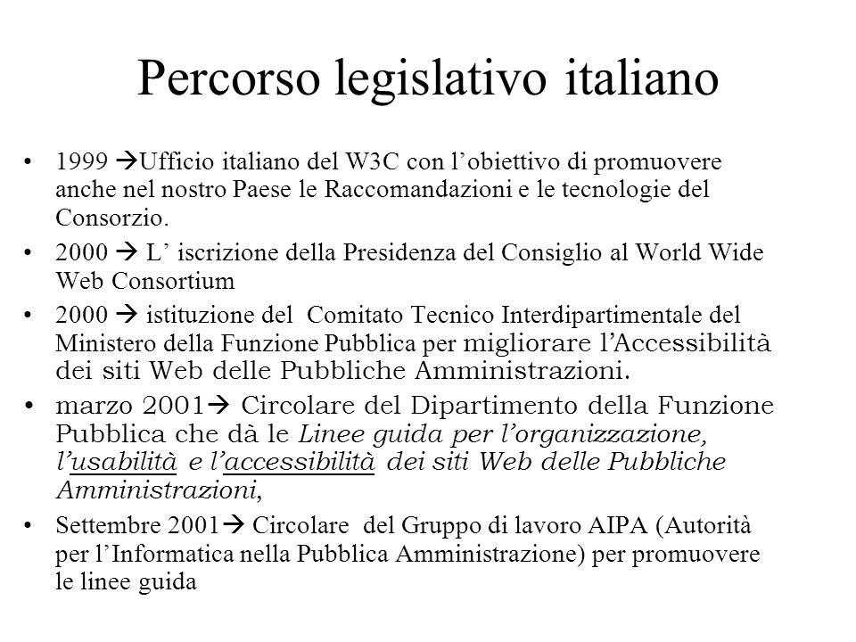 Percorso legislativo italiano 1999 Ufficio italiano del W3C con lobiettivo di promuovere anche nel nostro Paese le Raccomandazioni e le tecnologie del