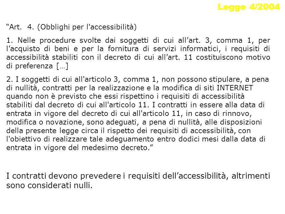 Legge 4/2004 Art. 4. (Obblighi per l'accessibilità) 1. Nelle procedure svolte dai soggetti di cui allart. 3, comma 1, per lacquisto di beni e per la f