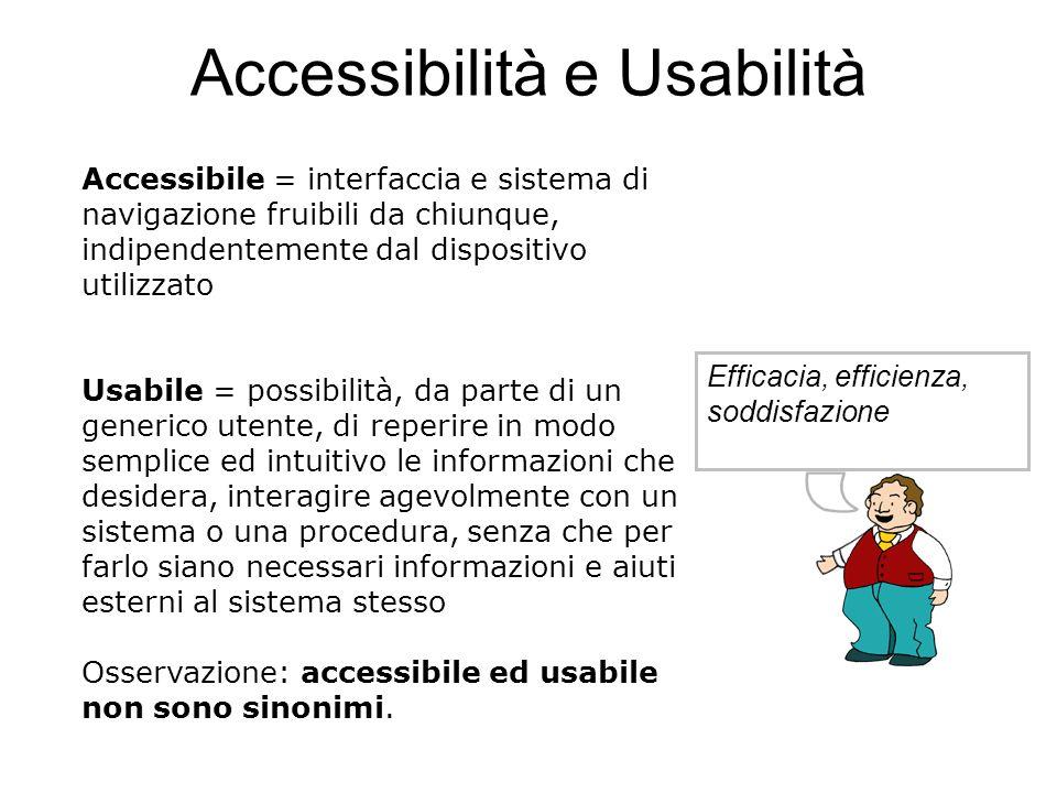 Accessibilità e Usabilità Efficacia, efficienza, soddisfazione Accessibile = interfaccia e sistema di navigazione fruibili da chiunque, indipendenteme