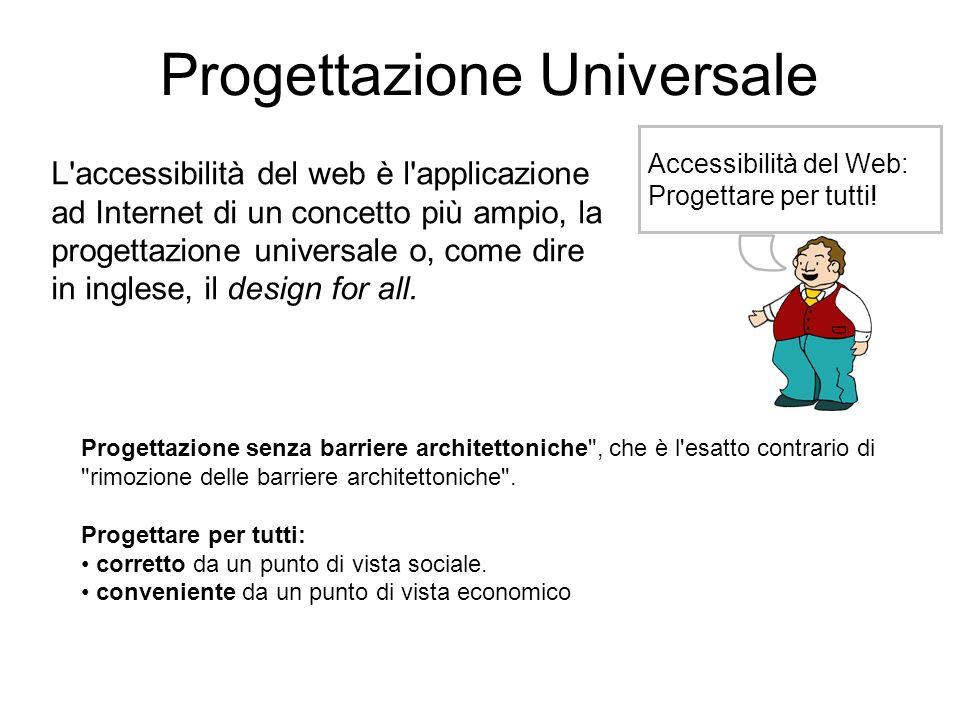 Progettazione Universale Accessibilità del Web: Progettare per tutti! L'accessibilità del web è l'applicazione ad Internet di un concetto più ampio, l