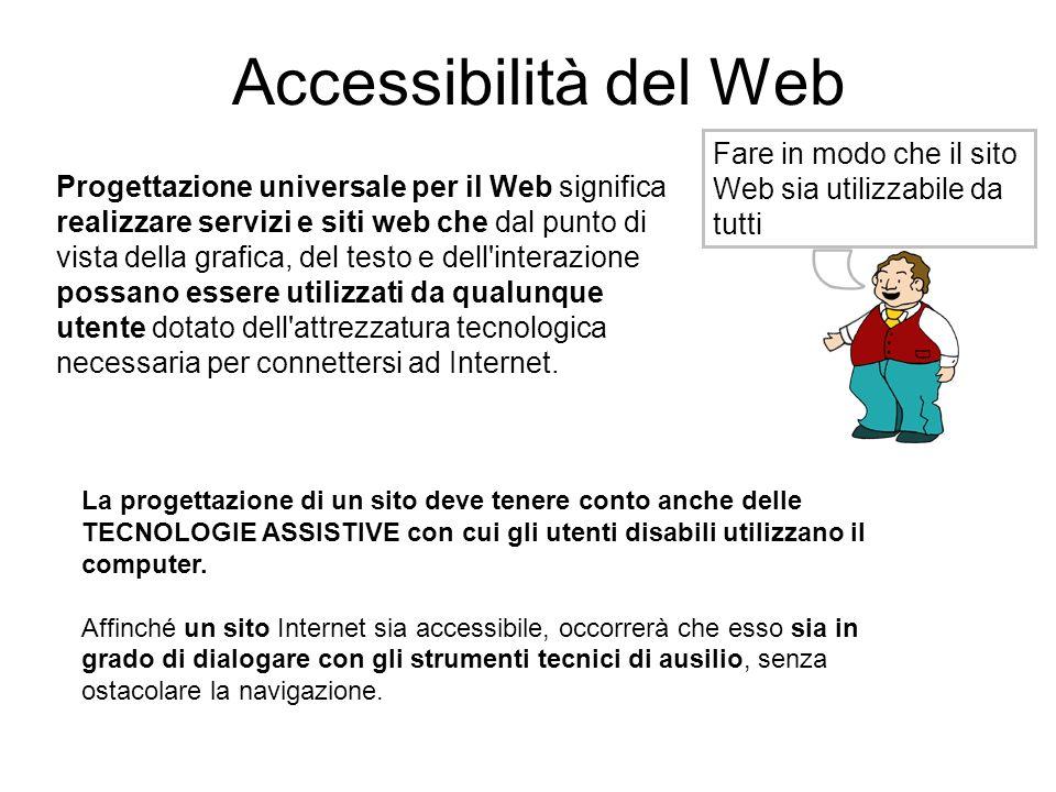 Accessibilità del Web Fare in modo che il sito Web sia utilizzabile da tutti Progettazione universale per il Web significa realizzare servizi e siti w