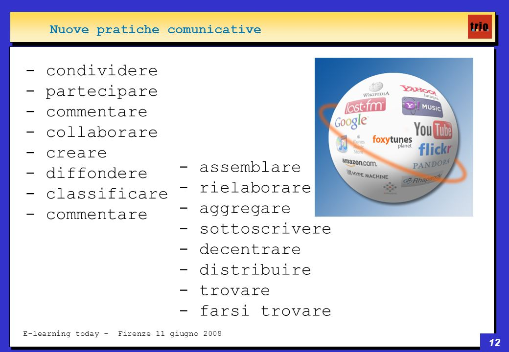 12 E-learning today - Firenze 11 giugno 2008 - condividere - partecipare - commentare - collaborare - creare - diffondere - classificare - commentare