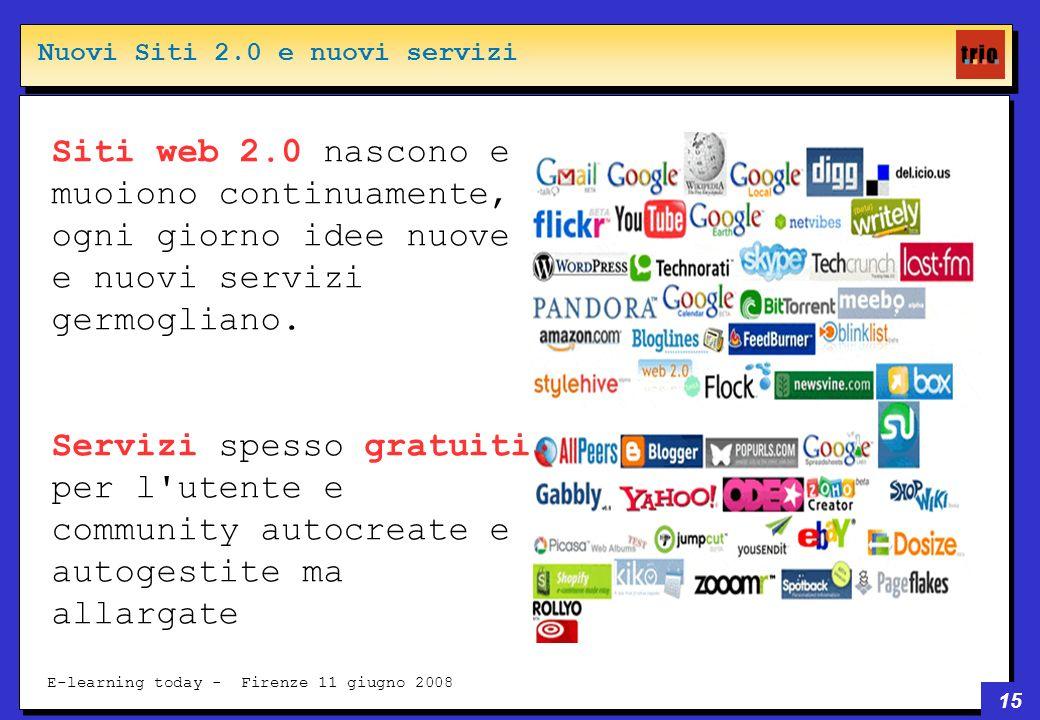 15 E-learning today - Firenze 11 giugno 2008 Siti web 2.0 nascono e muoiono continuamente, ogni giorno idee nuove e nuovi servizi germogliano.