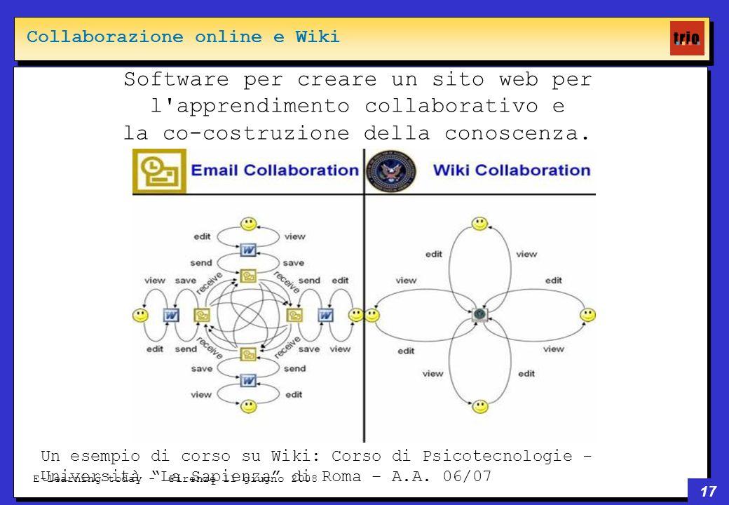 17 E-learning today - Firenze 11 giugno 2008 Software per creare un sito web per l apprendimento collaborativo e la co-costruzione della conoscenza.